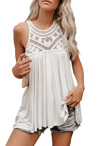 White Crochet Lace Tank Top LC256655-1