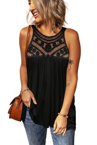Black Crochet Lace Tank Top LC256655-2