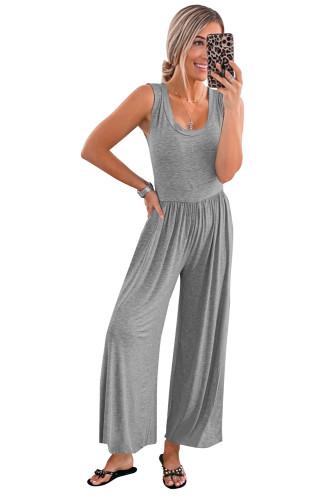 Gray Sleeveless Wide Leg Jumpsuit LC641383-11