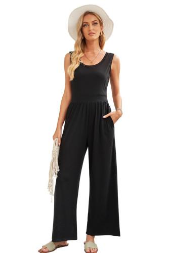 Black Sleeveless Wide Leg Jumpsuit LC641383-2