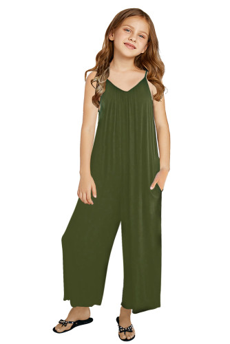 Green Spaghetti Strap Wide Leg Girl's Jumpsuit with Pocket TZ64020-9