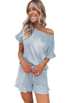 Striped Ruffle Top and Shorts Lounge Set LC4511710-19