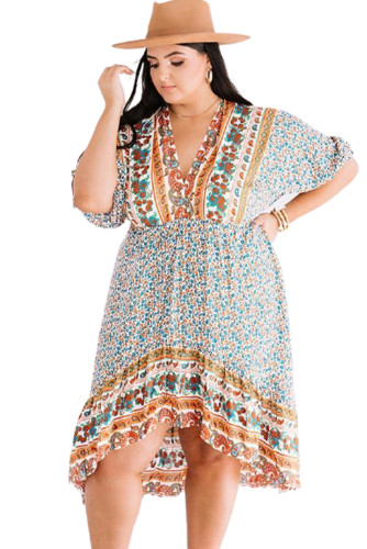 Plus Size Bohemian Floral Print Puff Sleeve Ruffle Dress LC613999-9