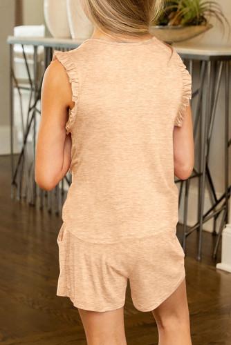 Apricot Solid Color Girl's Ruffle Tank and Drawstring Shorts Set TZ002-18