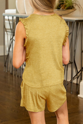 Yellow Solid Color Girl's Ruffle Tank and Drawstring Shorts Set TZ002-7