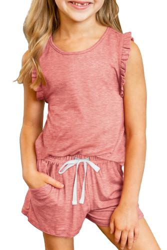 Solid Color Girl's Ruffle Tank and Drawstring Shorts Set TZ002-3