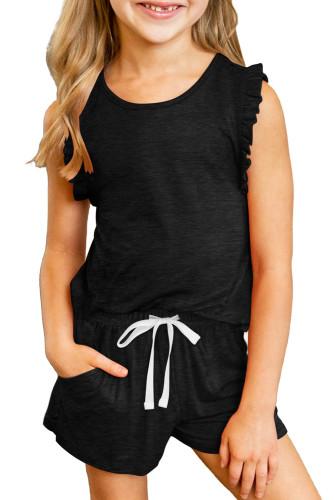 Black Solid Color Girl's Ruffle Tank and Drawstring Shorts Set TZ002-2