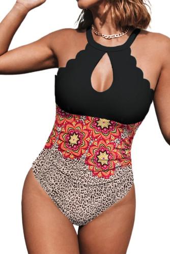 Halter Neck Scallop Trim Cutout Leopard Floral Color Block One-Piece Swimsuit LC441139-20