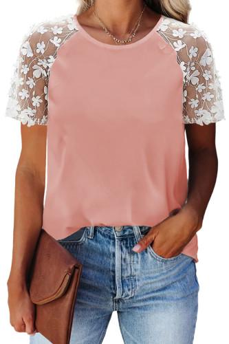 Pink Crewneck Applique Splicing Sleeve Top LC2517637-10