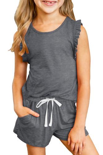 Gray Solid Color Girl's Ruffle Tank and Drawstring Shorts Set TZ002-11