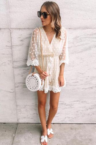 White Wrap V Neck Elastic Waist Polka Dot Mesh Lace Splicing Dress LC227421-1