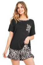 Black Top Leopard Pocket and Short Lounge Set LC4511583-2