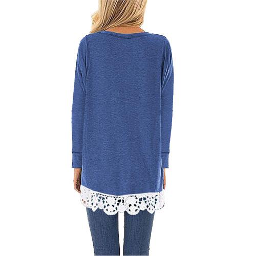 Blue Round Neck Lace Hem Long Sleeve Tops TQK210779-5