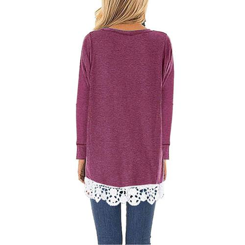 Purple Red Round Neck Lace Hem Long Sleeve Tops TQK210779-32