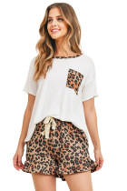 White Top Leopard Pocket and Short Lounge Set LC4511583-1