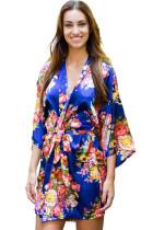 Blue Floral Bundles Robe with Belt LC453085-5