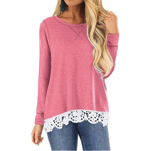 Pink Round Neck Lace Hem Long Sleeve Tops TQK210779-10