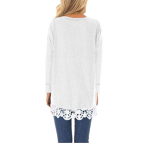 White Round Neck Lace Hem Long Sleeve Tops TQK210779-1