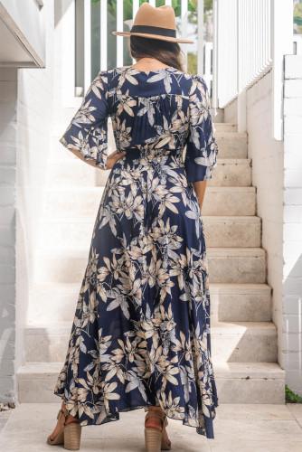 Navy Floral Print Plus Size Maxi Dress LC613575-5