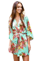 Green Floral Bundles Robe with Belt LC453085-9