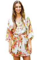 White Floral Bundles Robe with Belt LC453085-1