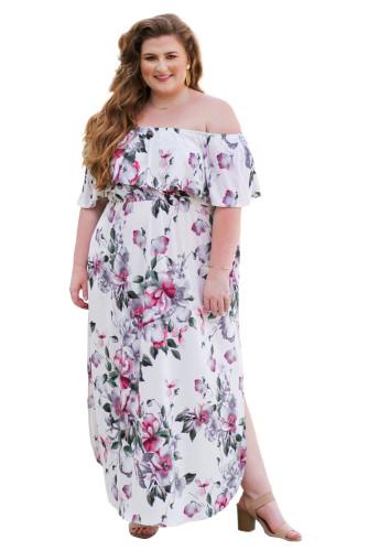 Off The Shoulder Floral Plus Size Maxi Dress LC614198-1