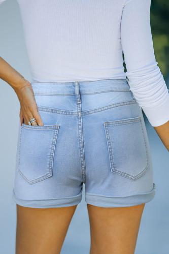 Sky Blue High Rise Cuffed Denim Shorts LC781727-4