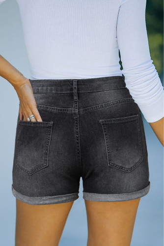 Black High Rise Cuffed Denim Shorts LC781727-2