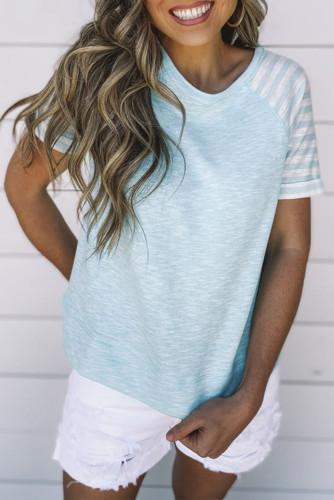 Sky Blue Crewneck Raglan Sleeve Striped Patchwork T-shirt LC2525028-4