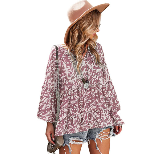 Pink Printed Rullfe Detail Long Sleeve Blouse TQK210777-10
