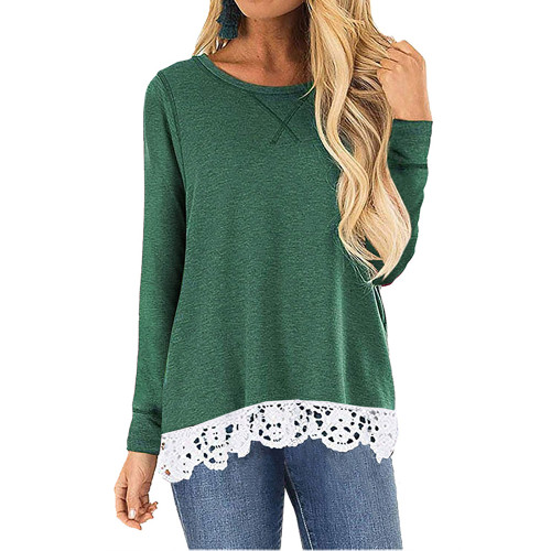 Green Round Neck Lace Hem Long Sleeve Tops TQK210779-9