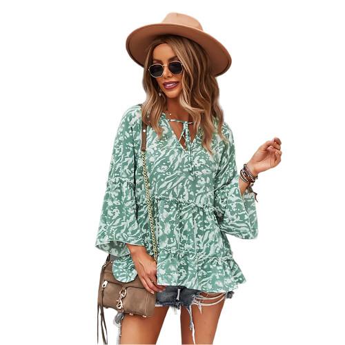 Green Printed Rullfe Detail Long Sleeve Blouse TQK210777-9