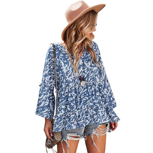 Blue Printed Rullfe Detail Long Sleeve Blouse TQK210777-5
