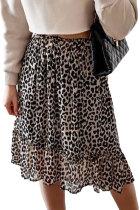 Leopard High Waist Tiered Midi Skirt LC65668-20