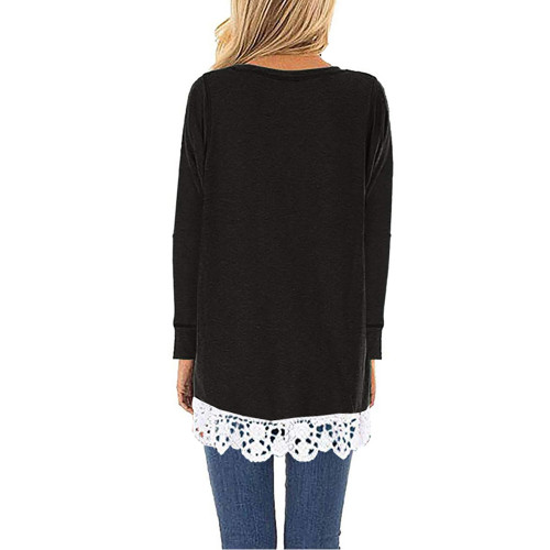 Black Round Neck Lace Hem Long Sleeve Tops TQK210779-2