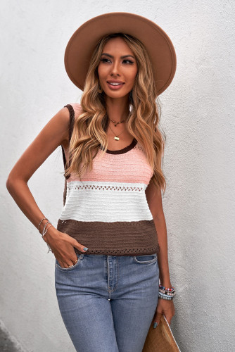 Brown Color Block Knitted Tank Top LC256349-17