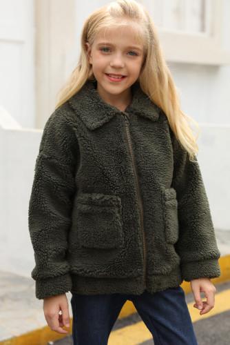 Green Lapel Zipper Pockets Girl's Sherpa Coat TZ85001-9