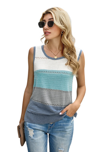 Sky Blue Color Block Knitted Tank Top LC256349-4