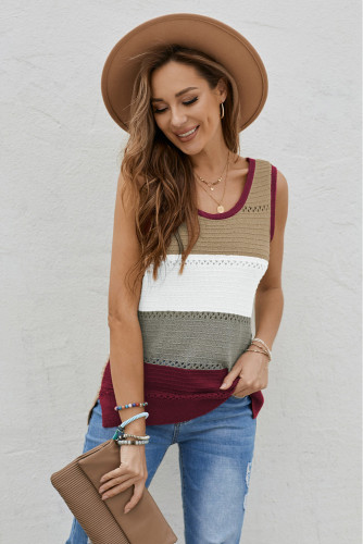 Burgundy Color Block Knitted Tank Top LC256349-3