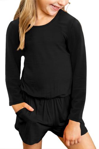 Black Solid Color Long Sleeve Elastic Waist Pocket Girl's Romper TZ64040-2