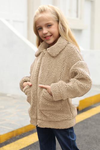 Khaki Lapel Zipper Pockets Girl's Sherpa Coat TZ85001-16