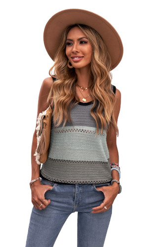 Black Color Block Knitted Tank Top LC256349-2