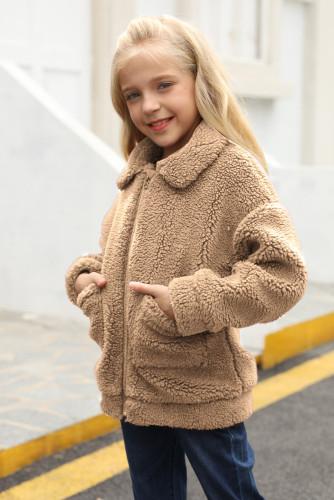 Brown Lapel Zipper Pockets Girl's Sherpa Coat TZ85001-17