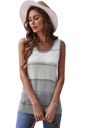 Gray Color Block Knitted Tank Top LC256349-1011