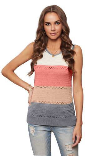 Multicolor Color Block Knitted Tank Top LC256349-22