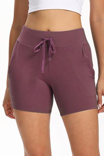 Purple Tie Waist Pocket Slim-fit Yoga Shorts LC263979-8