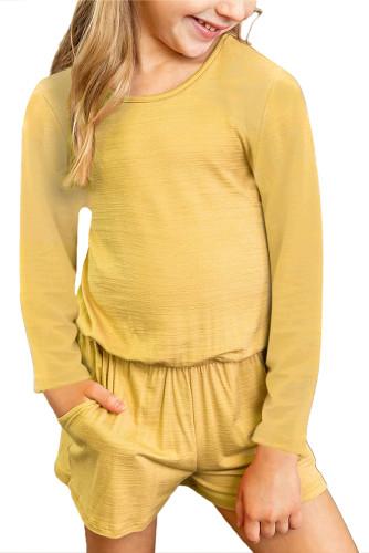 Yellow Solid Color Long Sleeve Elastic Waist Pocket Girl's Romper TZ64040-7