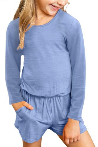 Sky Blue Solid Color Long Sleeve Elastic Waist Pocket Girl's Romper TZ64040-4