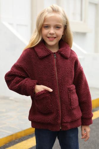 Wine Red Lapel Zipper Pockets Girl's Sherpa Coat TZ85001-3