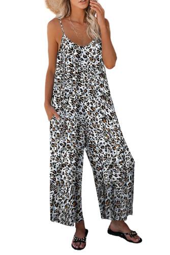 Leopard Print Spaghetti Strap Wide Leg jumpsuit LC642434-20